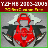 Fitment body parts for YAMAHA fairings YZF R6 2003 2004 2005 ABS red white black fairing kit r6 03 04 05 +7gifts K7FR