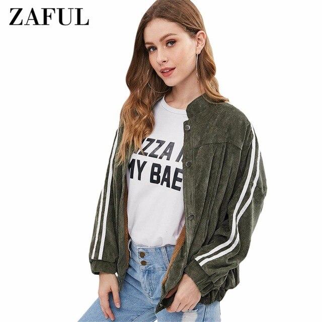 Zaful Faux Fur Lined Corduroy Jacket Oversized Side Stripe Fleece
