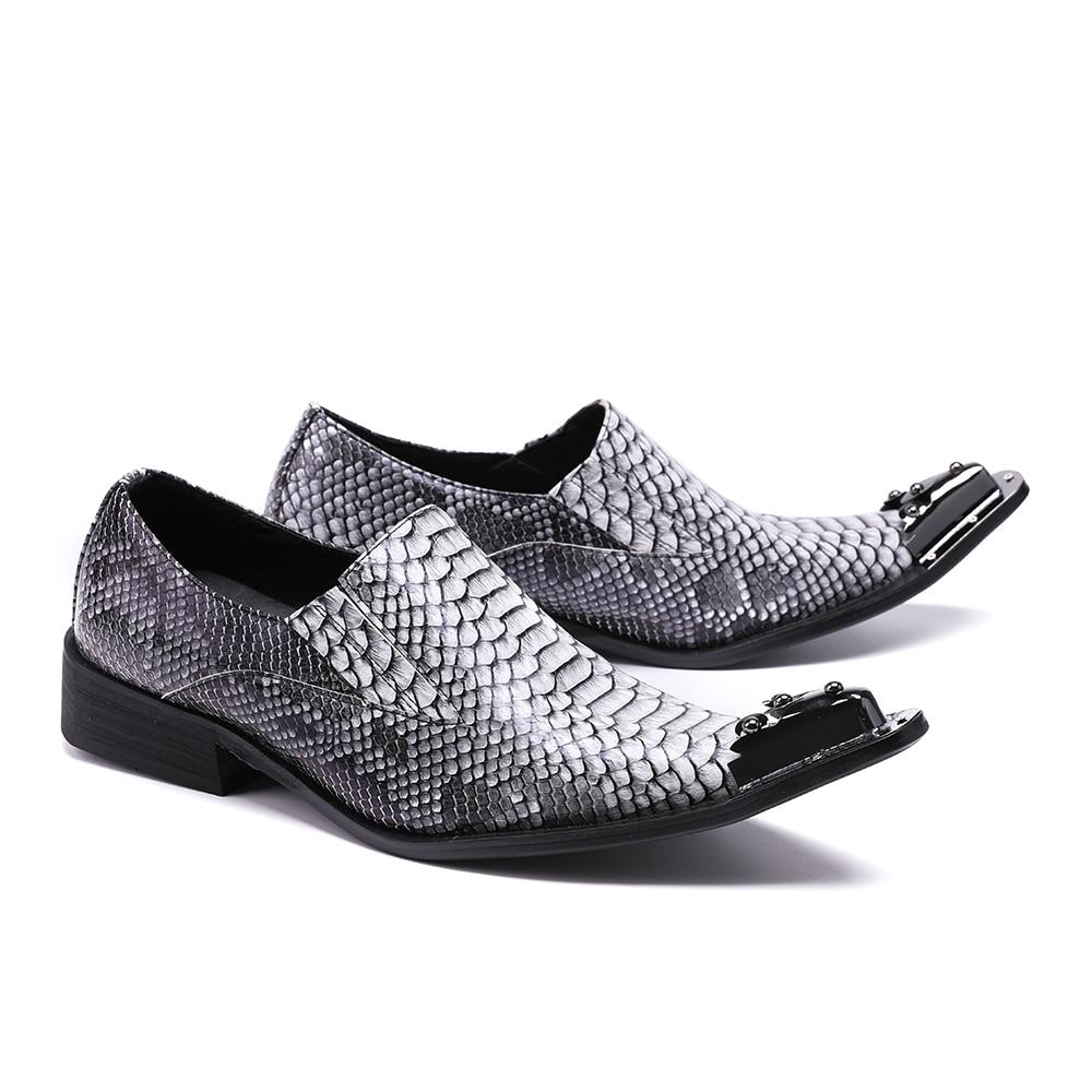 347578342d9f41 Peau Christia Cuir Oxford Gris Bella Hommes Mode D'affaires Bout Mariage De  Pointu Chaussures Rivets Serpent Parti Robe Véritable ...