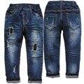 3956 buraco jeans meninos menino & da menina azul marinho denim jeans calça casual calças primavera outono crianças criança reta agradável moda de nova
