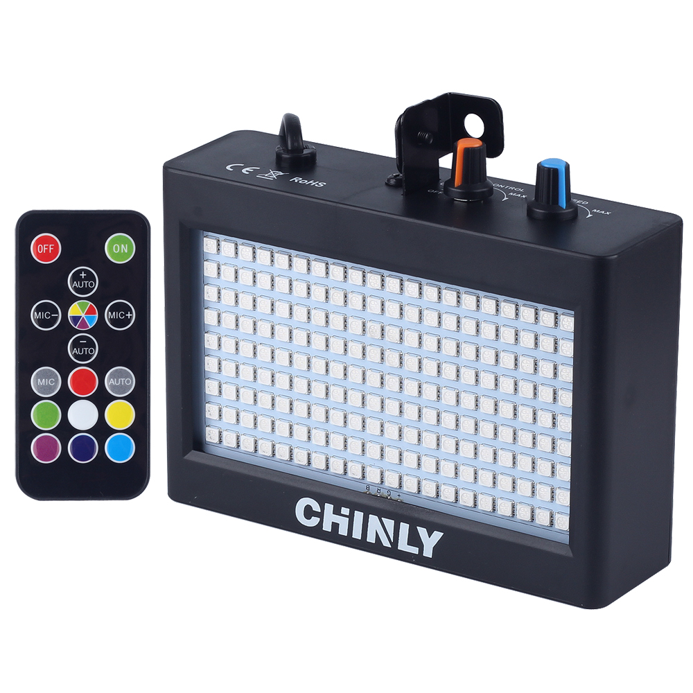 CHINLY 180 LEDs Strobe Flash Light Portable 35W RGB Remote Sound Control Strobe Speed Adjustable for Stage Disco Bar Party Club 3