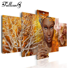 FULLCANG Full Square Diamond Embroidery African Woman Flower 5PCS Diy Painting Cross Stitch Mosaic Rhinestone Kit G540