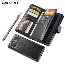 高級磁気フリップカバー三星銀河注 8 S9 プラスケース財布 9 カード銀河 Note8 S9 革ブック fundas 電話シェル