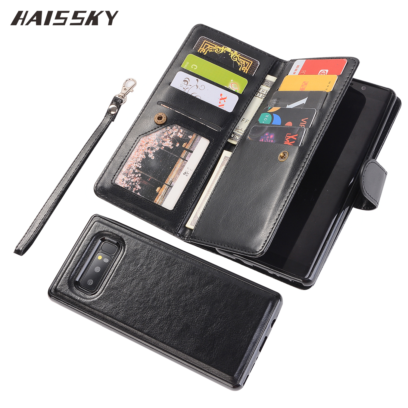 Luxury Magnetic Flip Cover For Samsung <font><b>Galaxy</b></font> Note 8 <font><b>S9</b></font> Plus <font><b>Case</b></font> Wallet 9 Cards <font><b>Galaxy</b></font> Note8 <font><b>S9</b></font> <font><b>Leather</b></font> Book Fundas Phone Shell image