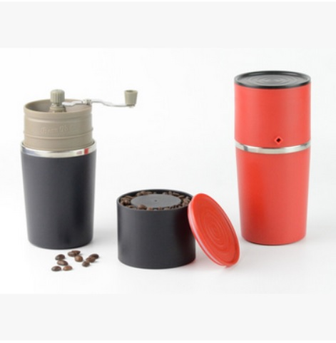FeiC 1pc 2 color 2016 new arrival mini grinder&maker with Metal filter&kettle for drip coffee all in one outdoor Travel design