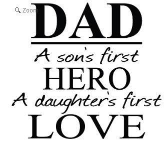 Ayah anak pahlawan putri cinta vinyl quote dinding decal