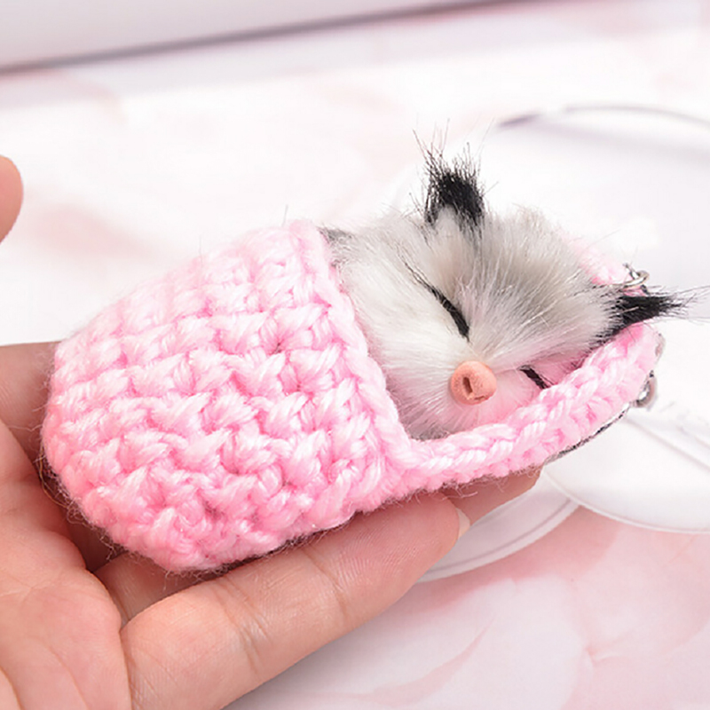 Handmade Cute Sleeping Cat Pompom Keychains Fluffy Bag Accessories For Women Girls Woven Bag Acc