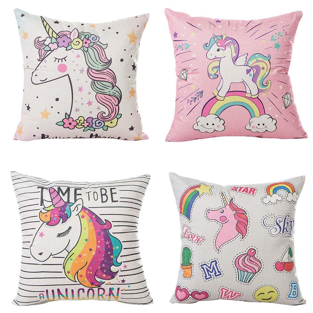 45x45CM Cartoon Unicorn Pillow Case Childlike Rainbow Cute Print Cushion Cover Decorative Throw Pillowcase Car Sofa Home Decor-in Cushion Cover from Home & Garden