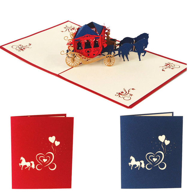 New Christmas Birthday Valentine Greeting Card 3d Love Carriage Pop