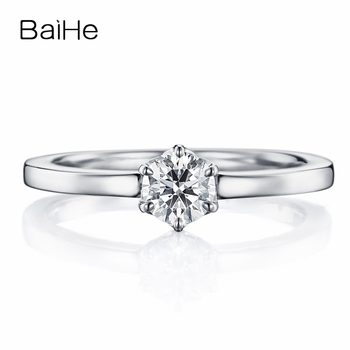 BAIHE Solid 10K White Gold(AU417) Certified 0.25ct Round Trendy 100% Moissanite Engagement Wedding Women Fine Jewelry Gift Ring image