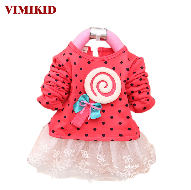 VIMIKID 2017 Newest Autumn Spring Kids Sweater Greatly Lollipop Full Version Dot Girls T shirt Stitching