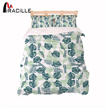 Miracille Tropical Green Plant Leaves Around Kids Duvet Cover With Pillowcase super soft Single Bed Set Floral Home Textiles(China)