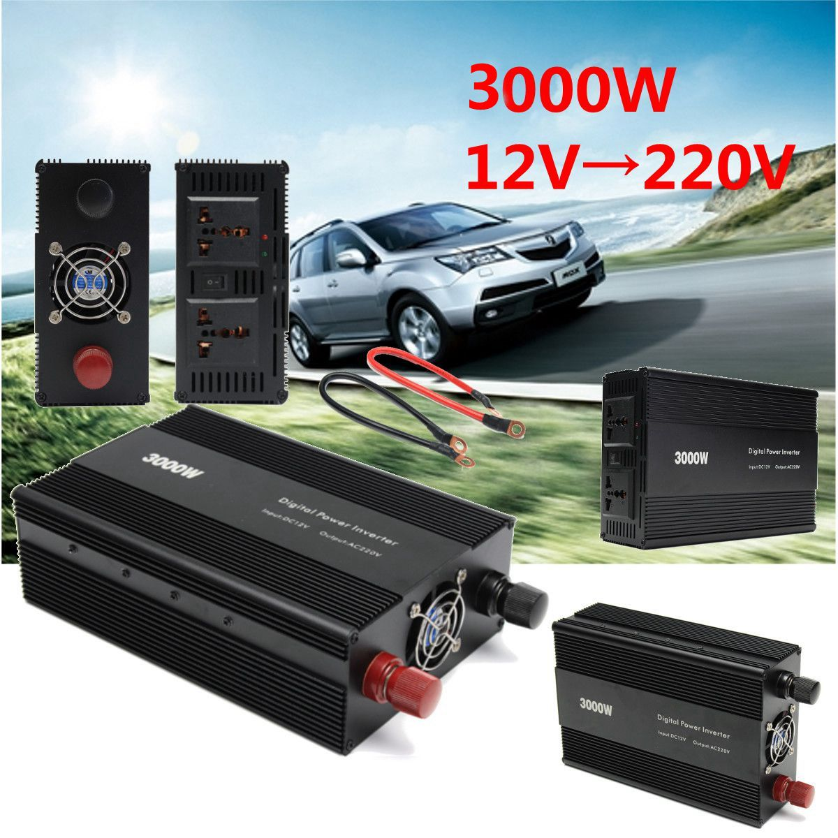 цена на Car Power Inverter 3000W Peak- 6000W 6KW Household DC 12V To AC 220V /110V Adapter Charger Modified Sine Wave with Cooling Fan