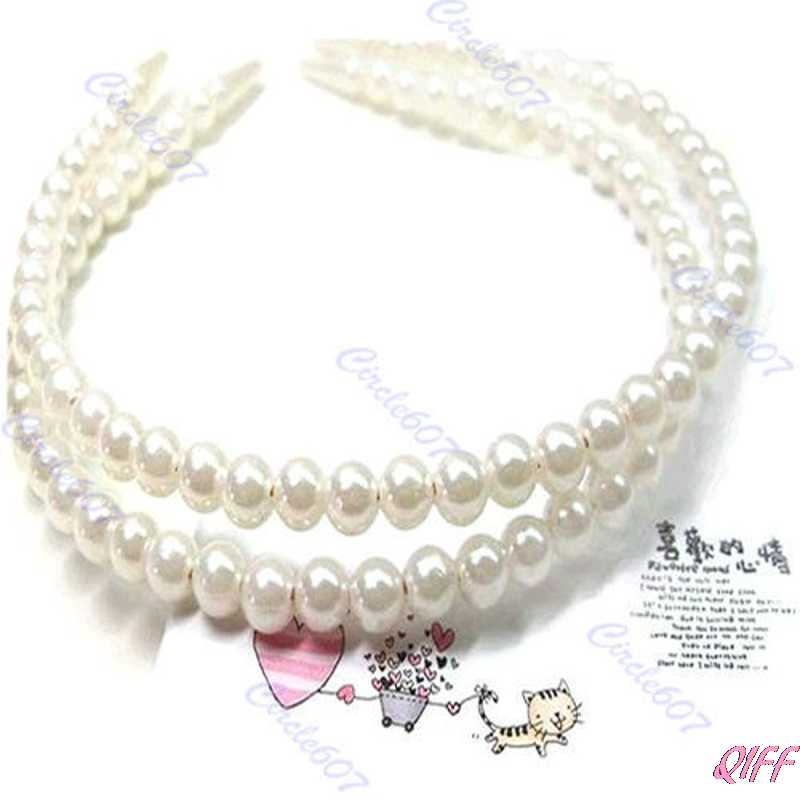 Glossy Faux White Pearl Hairband Headband Hair Band Bands With Hair Holder Hoop