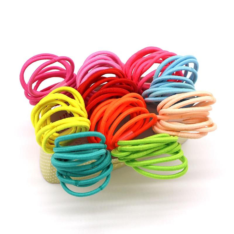 100Pcs Rubber Hair Bands Ponytail Holder Elastic Head Rope Hair Ties   Headwear   Girls Hair Accessories For Women Kids Girl Lady