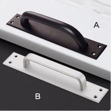 250mm 215mm modern simple unfold install black wooden door handles matte silver aluminum alloy moving door secret door pulls