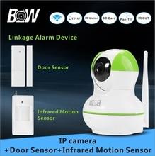 Cámara de vigilancia inalámbrica + puerta + sensor de infrarrojos motion sensor 720 p hd wifi cámara cámara ip wifi seguridad para el hogar bw12gr
