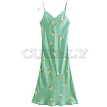 2019 Summer Flowers Printing Long Dress Women Sexy Camisole Ladies Elegant Silk Party CUERLY