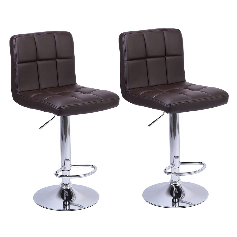 Marvelous Us 76 99 2Pcs Leather Adjustable Bar Stools With Back Counter Height Swivel Stool 60 80Cm 6 Checks Round Cushion Bar Stool Us Stock In Bar Chairs Machost Co Dining Chair Design Ideas Machostcouk