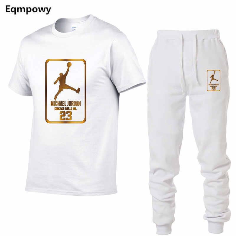 Лидер продаж, летние мужские комплекты, футболки + штаны, комплекты из двух предметов, повседневный спортивный костюм, Мужская футболка, тренажерные залы, брюки для фитнеса