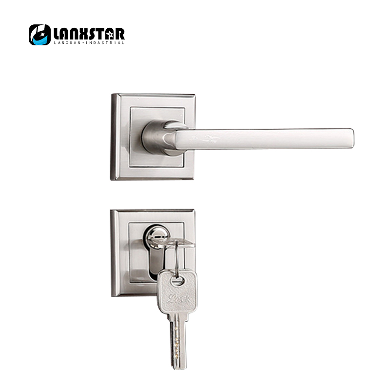 High Strength Build Zinc Alloy Split Lock Nickel Wire Drawing Safety Lockset Manufacturers Supply Indoor Locks Room Door-lock peeter urm viimane raund