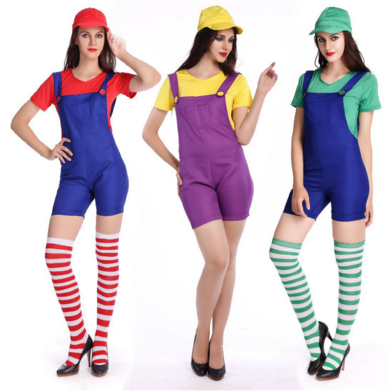 2018 New plus size super mario costume Sexy Mario cosplay Jumpsuits Xmas High quality Mario Bros clothing Halloween for Women