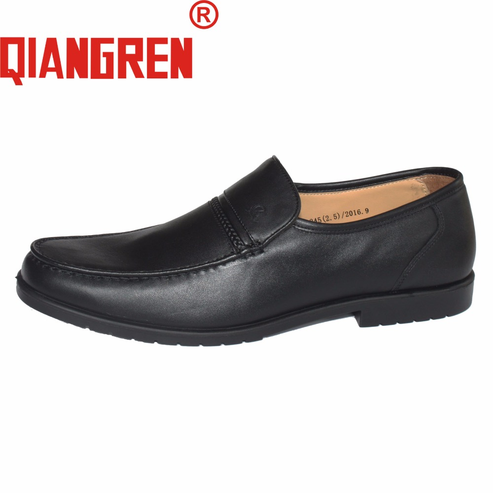 QIANGREN High-grade Quality Military Factory-direct Men's Autumn Black Dress Leather Rubber Loafers Casual Office Business Shoes new premium promotional yu europe d41x d341x flange rubber seal butterfly valves factory direct quality assurance