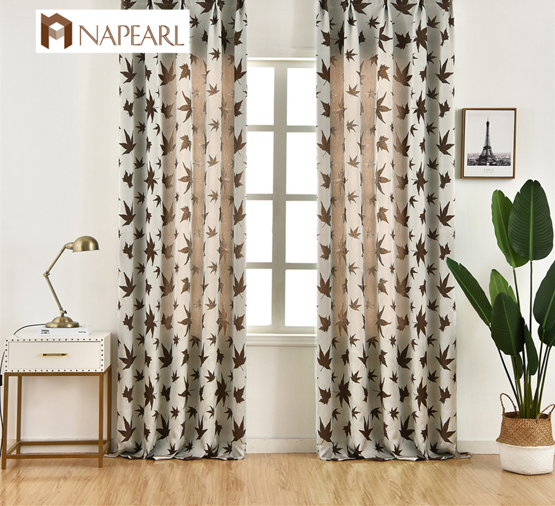 US $7.22 66% OFF|NAPEARL New Design Curtains Maple Jacquard Curtains Semi  Shade Fabric Modern Design Pastoral Style For Living Room Window Drapes-in  ...