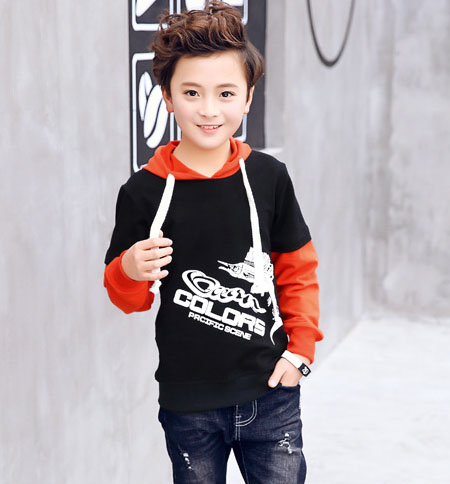 Childrens clothing boys long-sleeved sweater 2018 spring autumn new cotton children hooded printing mosaic sweater baby shirt