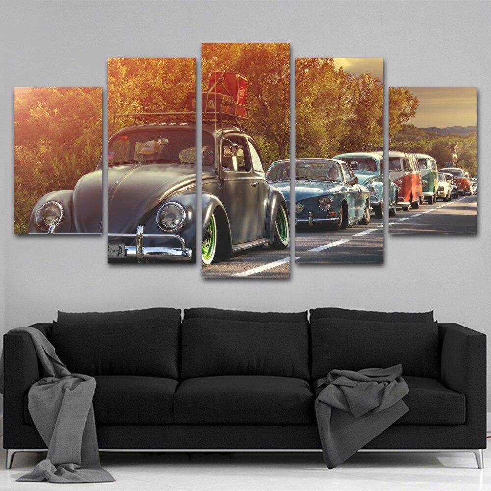 Toile Pictures Home Decor Cadre 5 Pièces Volkswagen Coléoptères Voiture Peintures Gravures HD Affiche Modulaire Pour Salon Wall Art