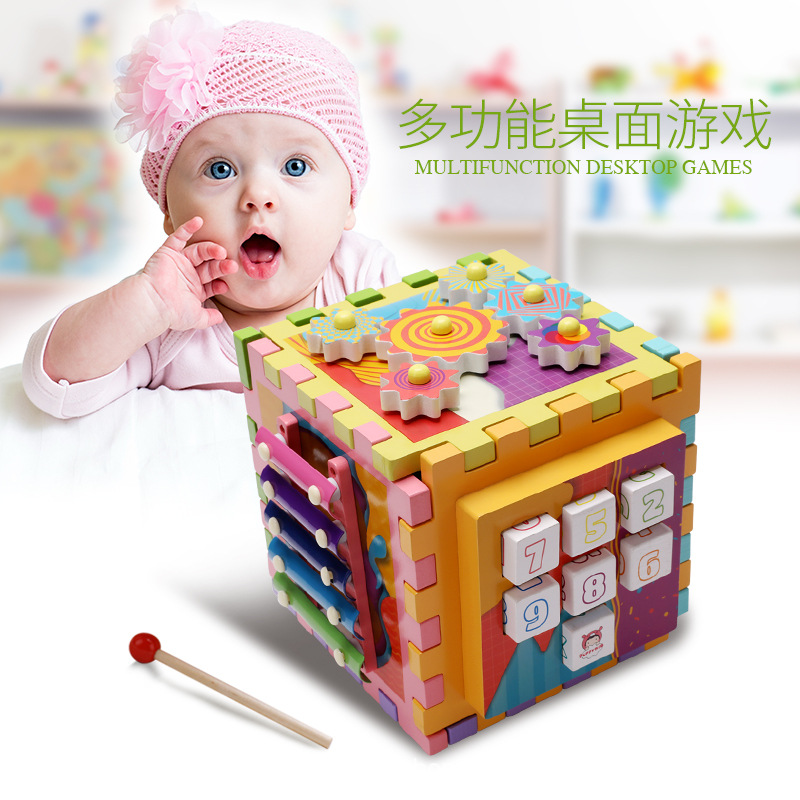 Nouveau 6-en-1 forme géométrie boîte au trésor blocs de construction bois multi-fonction jeu de société illumination Puzzle jouets d'apprentissage précoce