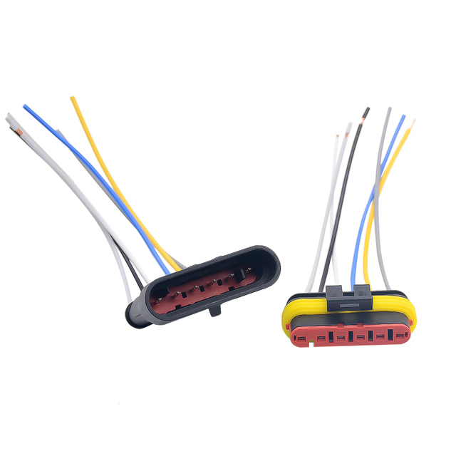 1 2 3 4 5 6 Way 1P 2P 3P 4P 5P 1.5 Kit Auto Connector Male & Female Waterproof Electrical Plug with 14AWG Cable Wire Harness 4