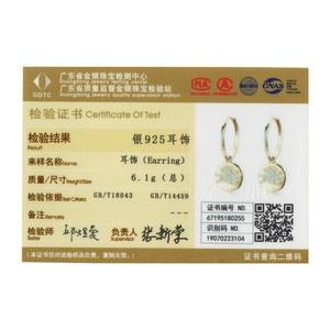 Image 5 - WOSTU 100% Real 925 Sterling Silver Drop Earrings Golden Color Happy & Lovely CZ Flying Piggy Earrings Wedding Gift CTE225