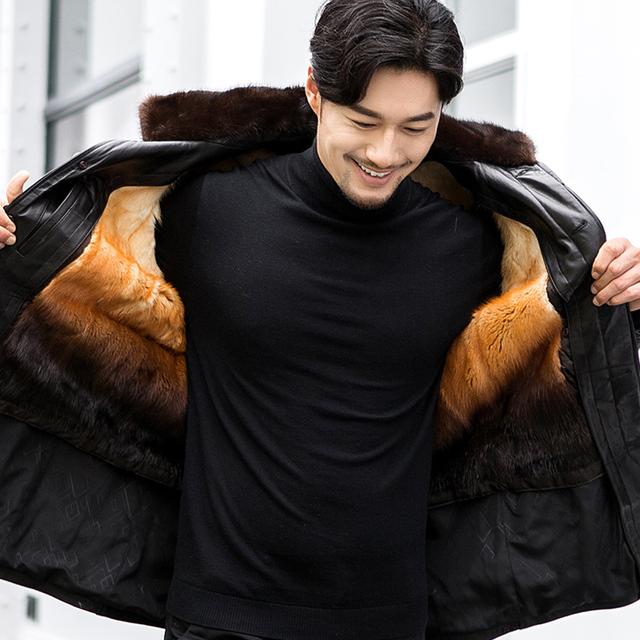Beverry Men's Winter 100% Genuine Leather Zipper Jacket Cardigan Men's Mink Coat