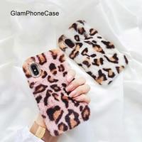 GlamPhoneCase Winter Rabbit Hair Fur Plush Leopard Dot Phone Cases For Iphone7 6 6s 8 Plus