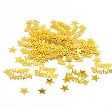 15 グラムゴールド happy birthay 紙吹雪ハッピーバースデーパーティーの装飾ベビーシャワーの結婚式婚約パーティーテーブル散乱装飾