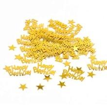 Confeti de cumpleaños feliz de 15g de oro, decoración para fiesta de feliz cumpleaños, celebración de bebé, boda, compromiso, mesa de fiesta, decoraciones