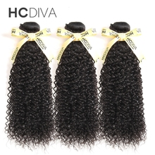 HCDIVA Peruvian Kinky Curly Hair 100 Human Hair Weave Bundles Natural Color Non Remy Hair Extensions