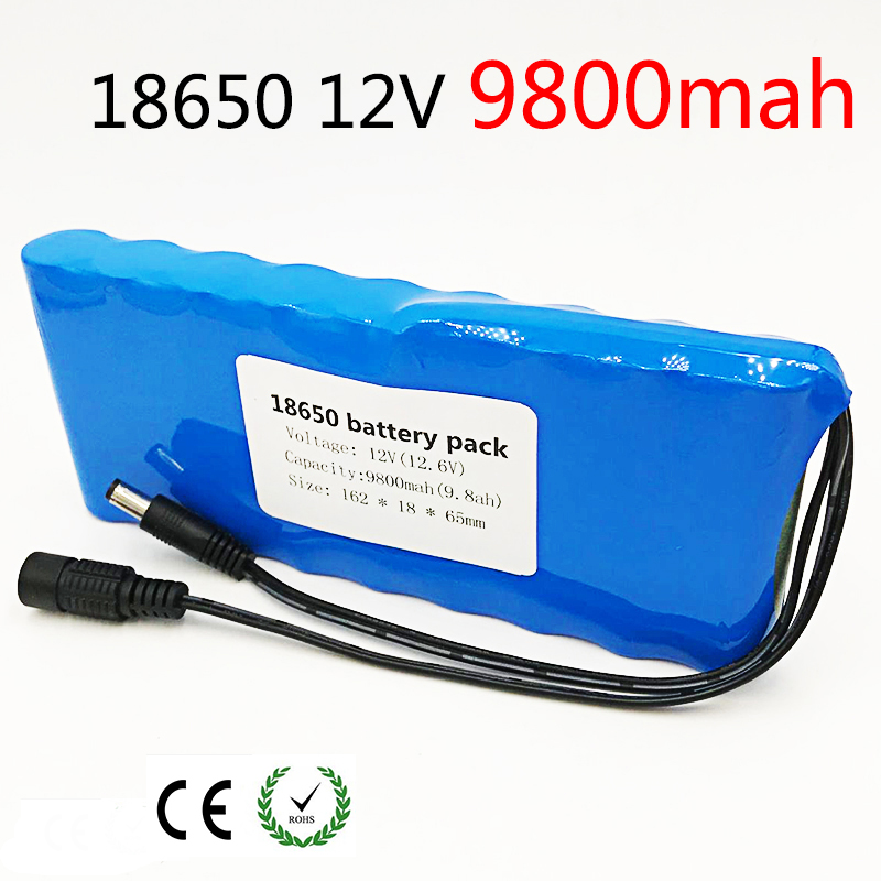 12V Battery 18650 9.8AH Portable Rechargeable Batteres DC 11.1V 12V 12.6V 9800mAh 18650 Li-Ion Battery CCTV Camera Monitor 12v 1800mah rechargeable portable emergency power li ion battery for cctv devices