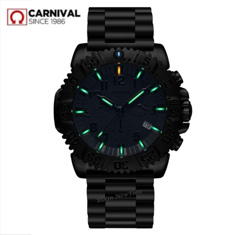 Chronographe T25 Tritium montre d'arrêt lumineuse hommes marque de luxe Ronda quartz hommes montres horloge en acier complet erkek kol saati reloj uhr