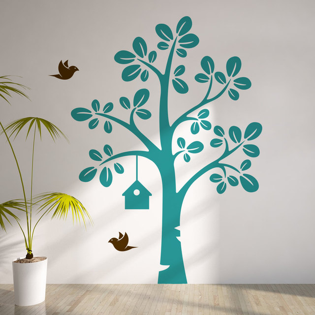 Children Tree With Flying Birds Vinyl Wall Decal Nursery Sticker Baby Bedroom