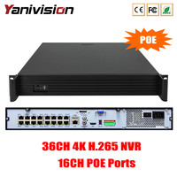 1.5U Поддержка 4 HDD ONVIF P2P 36CH 4 К 8MP 5MP 4MP 3MP 1080 P POE NVR 36CH H.265 наблюдения CCTV Регистраторы 16CH POE NVR H.265