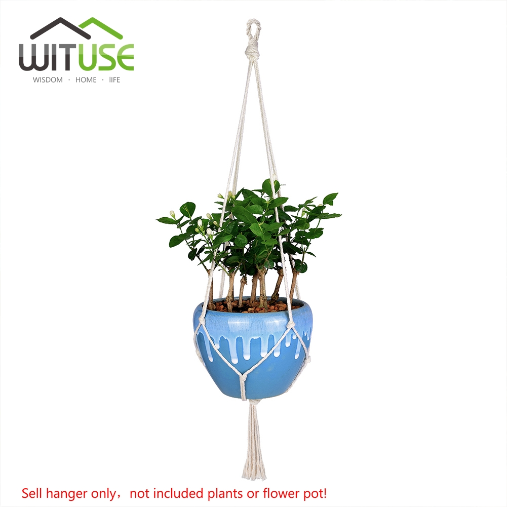 WITUSE Vintage Macrame Plants Hanger Hook Flower Pot Holder 4 Legs String Hanging Rope Wall Art Home Garden Balcony Decoration in Hanging Baskets from Home Garden