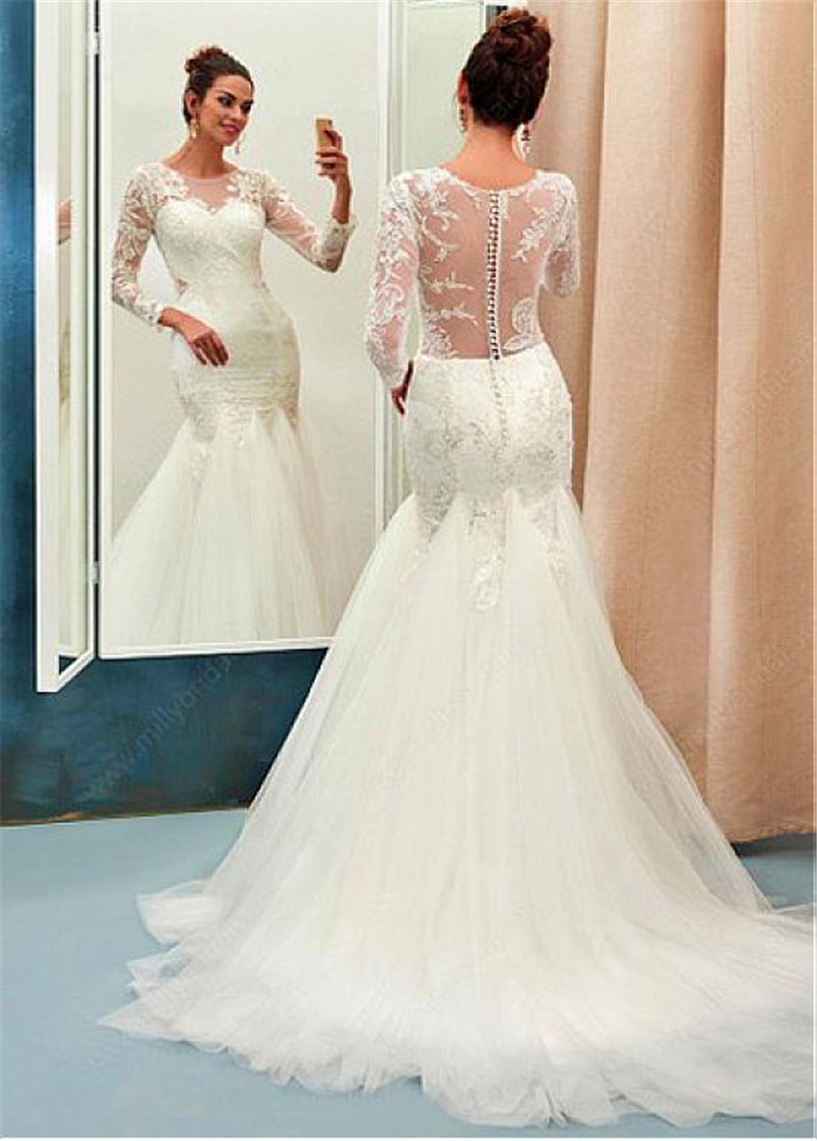 Image 2 - Chic Tulle Jewel Neckline Mermaid Wedding Dress With Beaded Lace Appliques Long Sleeves See Through Bridal Dresses-in Wedding Dresses from Weddings & Events