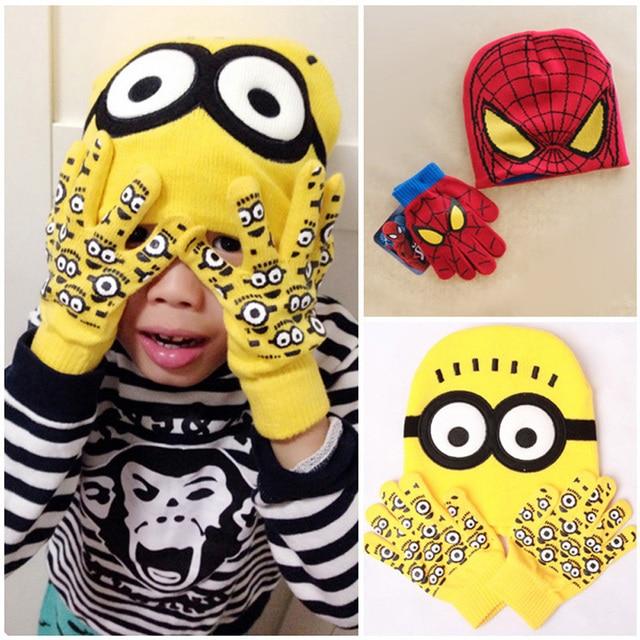 minions spider man gorras y guantes kawaii historieta del invierno de punto chicas chicos sombreros