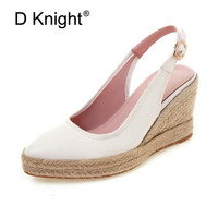 Black White Wedges Shoes For Women Sandals Plus Size Ladies High Heels Summer Shoes Chaussures Femme Platform Espadrille Sandals