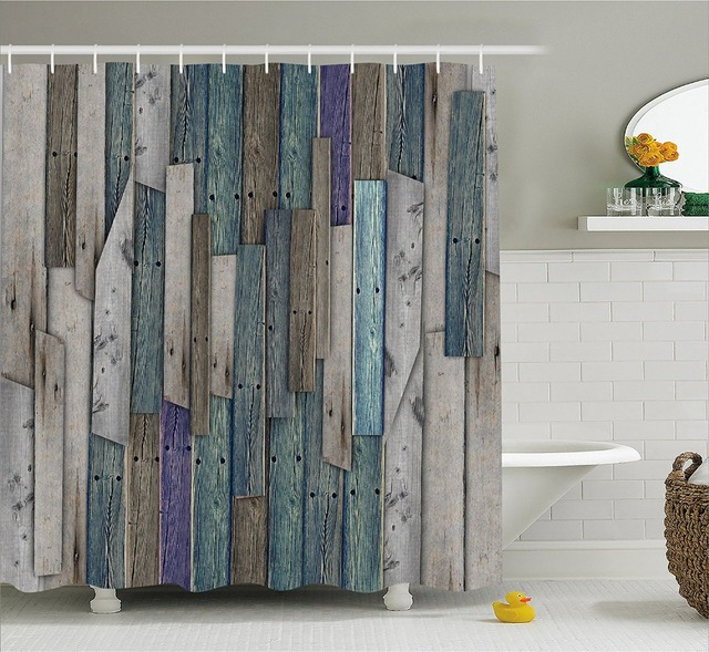 Modern Arts Shower Curtains Rustic Planks Barn House Wood and Nails ...