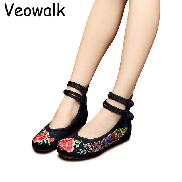 cc799b80727a Online Shop Veowalk Handmade Peacock Embroidered Women Old Beijing Canvas  Ballet Flats High Top Ankle Double Strap Fabric Embroidery Shoes