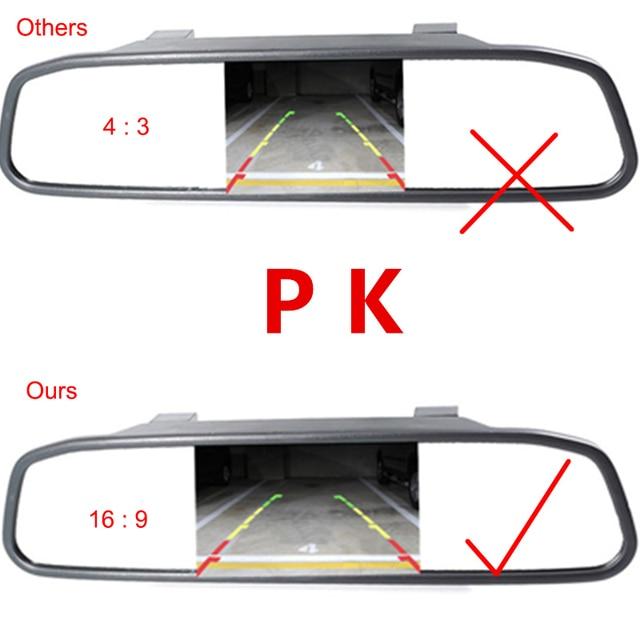 4.3 Pouce LCD De Voiture Moniteur RU Européenne Cadre de Plaque D'immatriculation arrière Vue Caméra IR Lumière nigh vision caméra de recul rétroviseur miroir 5