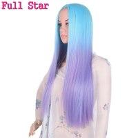 Full Star Blue Ombre Purple Wigs High Temperature Fiber 20 Inch 280g Straight Full Head Black